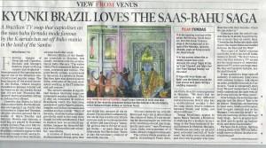Artigo no jornal indiano The Times of India a respeito da novela brasileira Caminhos da Índia